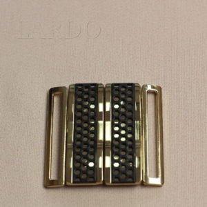 Пряжка разъёмная металл /каучук, золото/черный 6 см x 6 см
