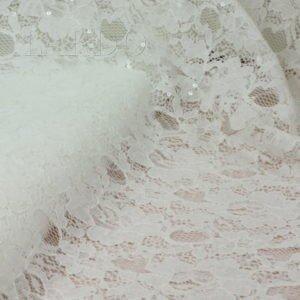 Кружевное полотно кордовое молочное расшитое прозрачными пайетками хлопок