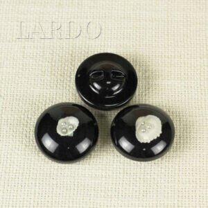 Пуговица на ножке пластик со стразами ∅ 3,3 см чёрного цвета