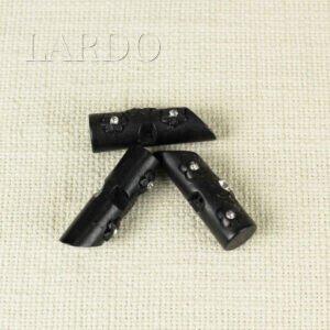 Пуговица на ножке пластик со стразами цилиндр чёрного цвета