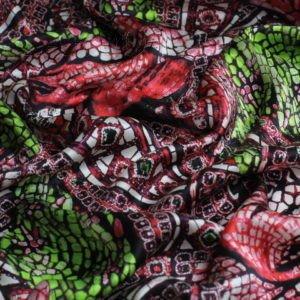 Атлас шёлк чёрный в бежевый горошек  1,5 см