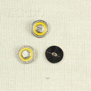 Пуговица на ножке металл с желтой эмалью ∅ 2,1 см никель
