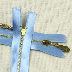 Молния, неразъёмная, однозамковая, 15 см, №3, голубая