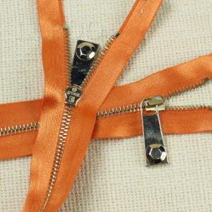 Молния, неразъёмная, однозамковая, 45 см, №2, оранжевая