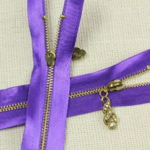 Молния, неразъёмная, однозамковая, 15 см, №3, фиолетовая