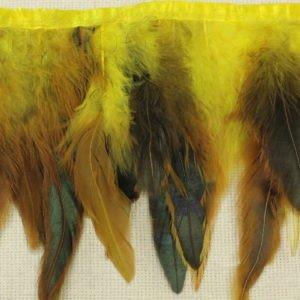 Тесьма куриное перо, жёлто-зелёная