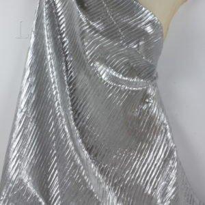 Парча шёлковая серебристый люрекс