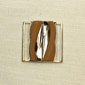 Пряжка разъёмная металл/каучук, золото/цвет корицы 5,3 см х 5,5 см