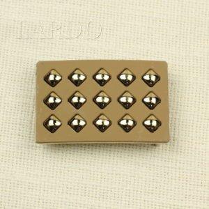 Пряжка разъёмная золотисто-бежевая металл/каучук 7 см х 4,5 см