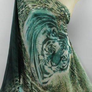 Шифон шёлк тигр зелёный