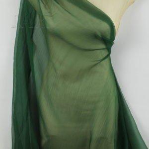 Шифон-крэш шёлковый тёмно-зелёный