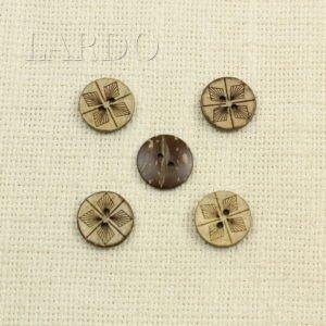 Пуговица тёмно-коричневая дерево ∅ 1,5 см