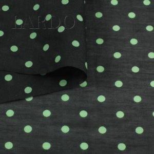 Батист шёлковый чёрный в зелёный горошек