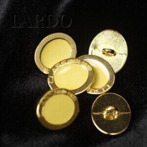 Пуговица металл и эмаль жёлтая овальная 1,7 см  x 1,5 см