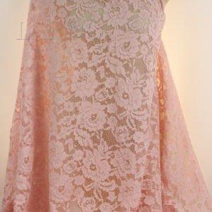 Кружевное полотно кордовое с фестонами розовое