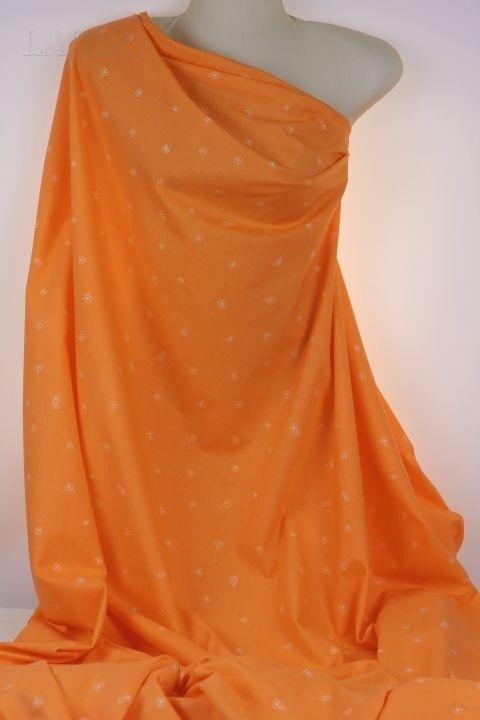 Поплин хлопок оранжевый в мелкий цветочек