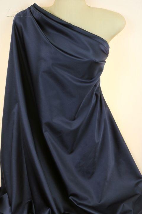 Сатин (атлас) стретч хлопок тёмно-синий