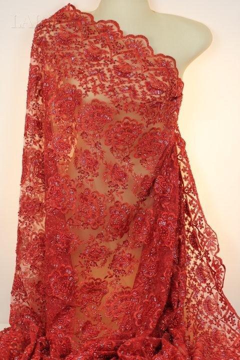 Сетка расшитая вручную бисером и стеклярусом с фестонами красная