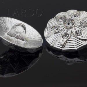 Пуговица на ножке металл стразы Сваровски 2,2 см никель