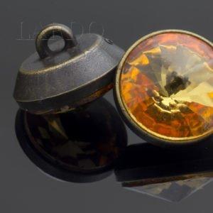 Пуговица на ножке металл с оранжевыми стразами Сваровски ∅ 1,2 см оксид бронзовая