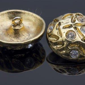 Пуговица на ножке металл со стразами Сваровски ∅ 2,4 см золотистого цвета