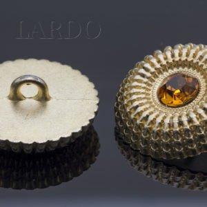 Пуговица металл с коричневыми стразами Сваровски ∅ 2,2 см