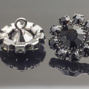 Пуговица металл с чёрными стразами Сваровски ∅ 1,8 см