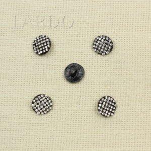 Пуговица красная металл/эмаль со стразами Сваровски ∅ 1,8 см