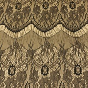 Кружевное полотно шантильи (реснички) чёрное ширина полосы 25 см