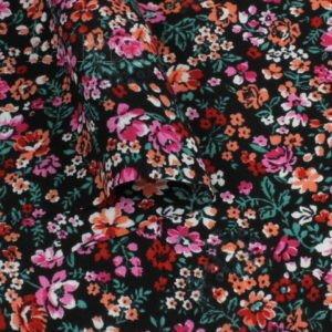 Штапель вискоза мелкий цветочный принт розовый