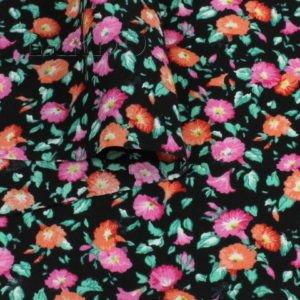 Штапель вискоза мелкий цветочный принт розово-оранжевый