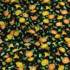 Штапель вискоза мелкий цветочный принт жёлто-оранжевый