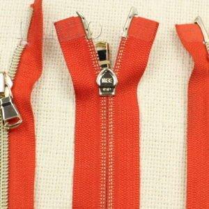 Молния KEE разъёмная, металлизированная, двухзамковая, 42 см, №5, красная