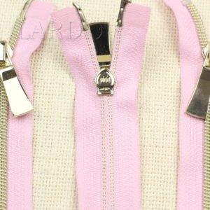 Молния KEE разъёмная, металлизированная, двухзамковая, 55 см, №5, розовая