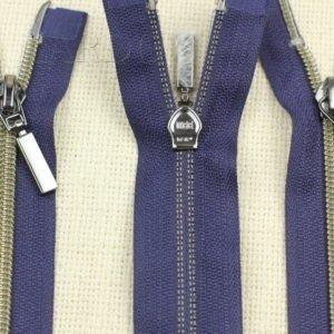 Молния KEE разъёмная, металлизированная, двухзамковая, 62 см, №5, тёмно-синяя