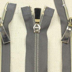 Молния KEE разъёмная, металлизированная, двухзамковая, 77 см, №5, тёмно-серая