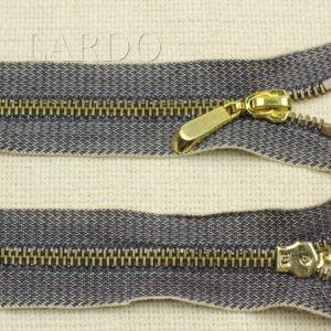 Молния сине-серый джинс разъёмная, однозамковая, 50 см, №5, синяя