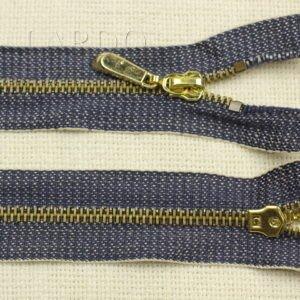 Молния сине-серый джинс разъёмная, однозамковая, 70 см, №5, синяя