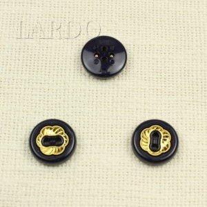 Пуговица чёрная с золотом пластик ∅ 2,2 см