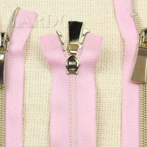 Молния KEE разъёмная, металлизированная, двухзамковая, 56 см, №5, розовая