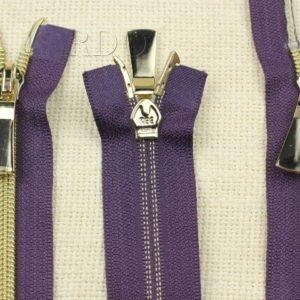 Молния KEE разъёмная, металлизированная, двухзамковая, 80 см, №5, фиолетовая