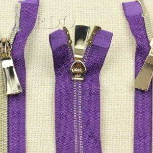 Молния KEE разъёмная, металлизированная, двухзамковая, 90 см, №5, фиолетовая