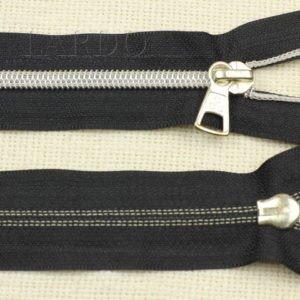 Молния разъёмная, металлизированная, однозамковая, 48 см, №5, чёрная