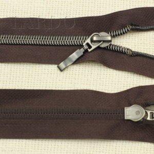Молния разъёмная, металлизированная, однозамковая, 40 см, №5, коричневая