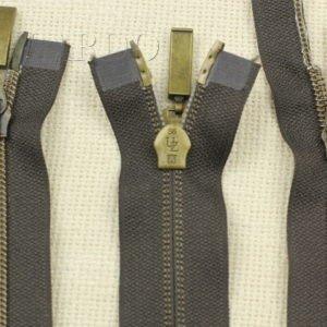 Молния UNIZIP  разъёмная, металлизированная, двухзамковая, 46 см, №5, тёмно-коричневая