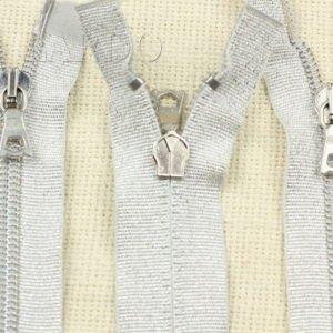 Молния разъёмная, металлизированная, двухзамковая, 55 см, №5, серебристая