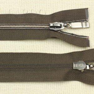 Молния разъёмная, металлизированная, однозамковая, 40 см, №5, тёмно-коричневая