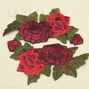 Аппликация розы  красные объёмные, пришивная