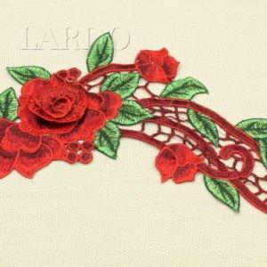 Аппликация розы красные с ришелье, пришивная