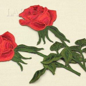 Аппликация красная роза на веточке, термо